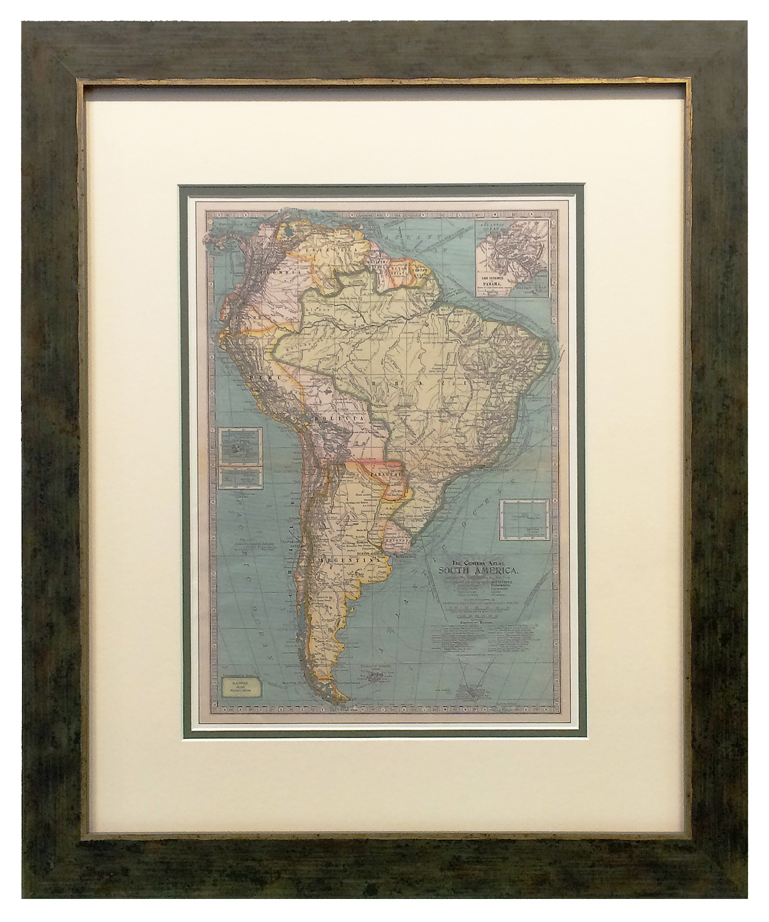 An 1897 vintage map of South America framed in a green distressed frame with gold accents.