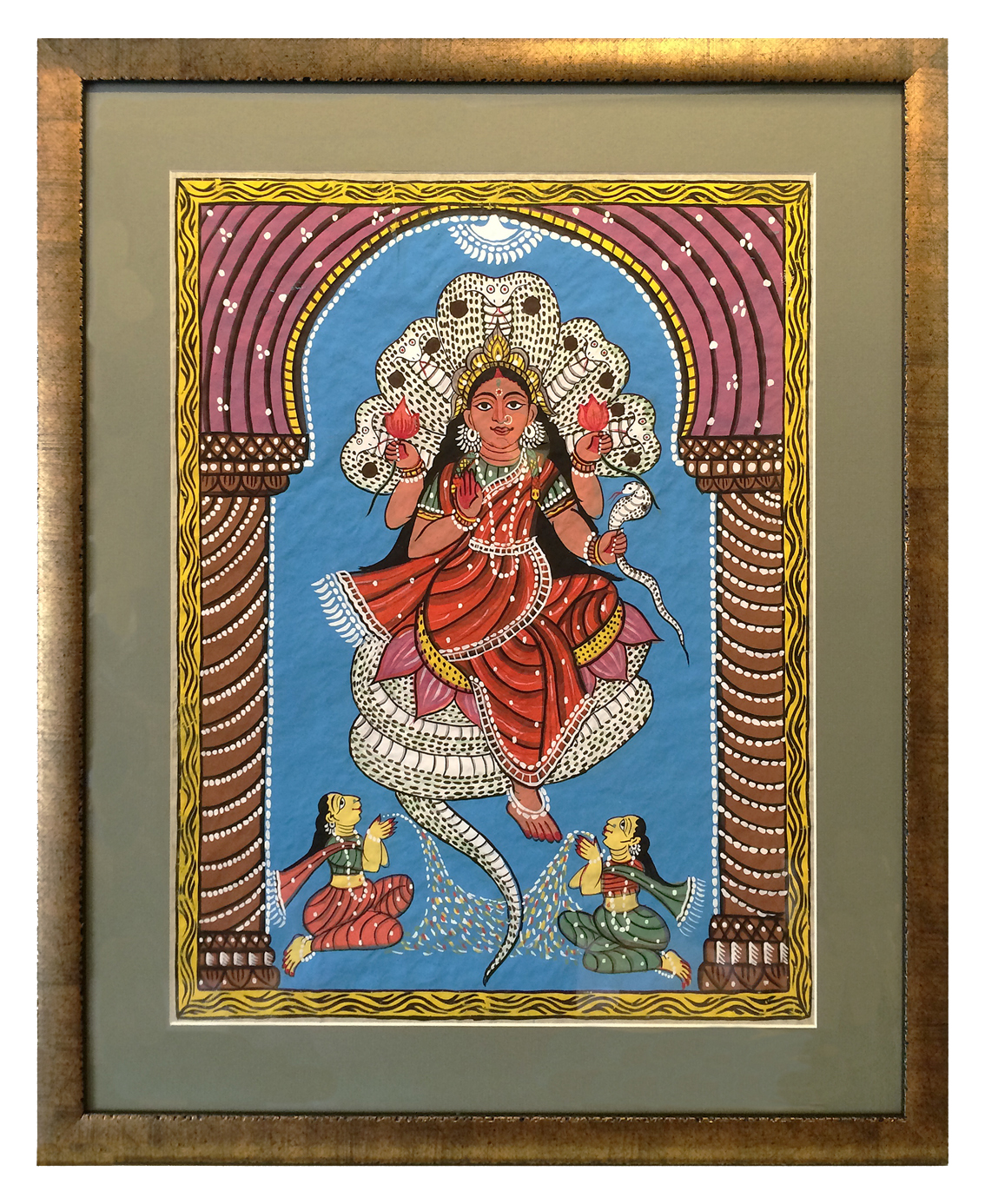 An illustration of Devi, The Goddess of All Existence, in a brushed gold frame that complements the richness of the artwork.