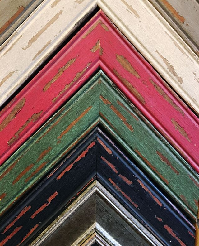 Some new distressed, colorful moldings we have available in the shop. I especially love the green, cream, and gray moldings in this collection -- they are beautiful, don't you think? .. .. .. .. .. .. .. #PictureFraming #RealArt #Framing  #LocalBusiness #SmallBusiness #Art #LocalArt #photooftheday #SupportLocal #customframing  #igerschicago #ChicagoArt #ShopSmall #ShopLocal