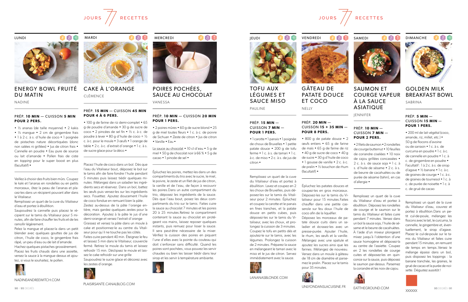Magazine 95°, Janvier 2018 - 7 jours 7 recettes à la vapeur douce