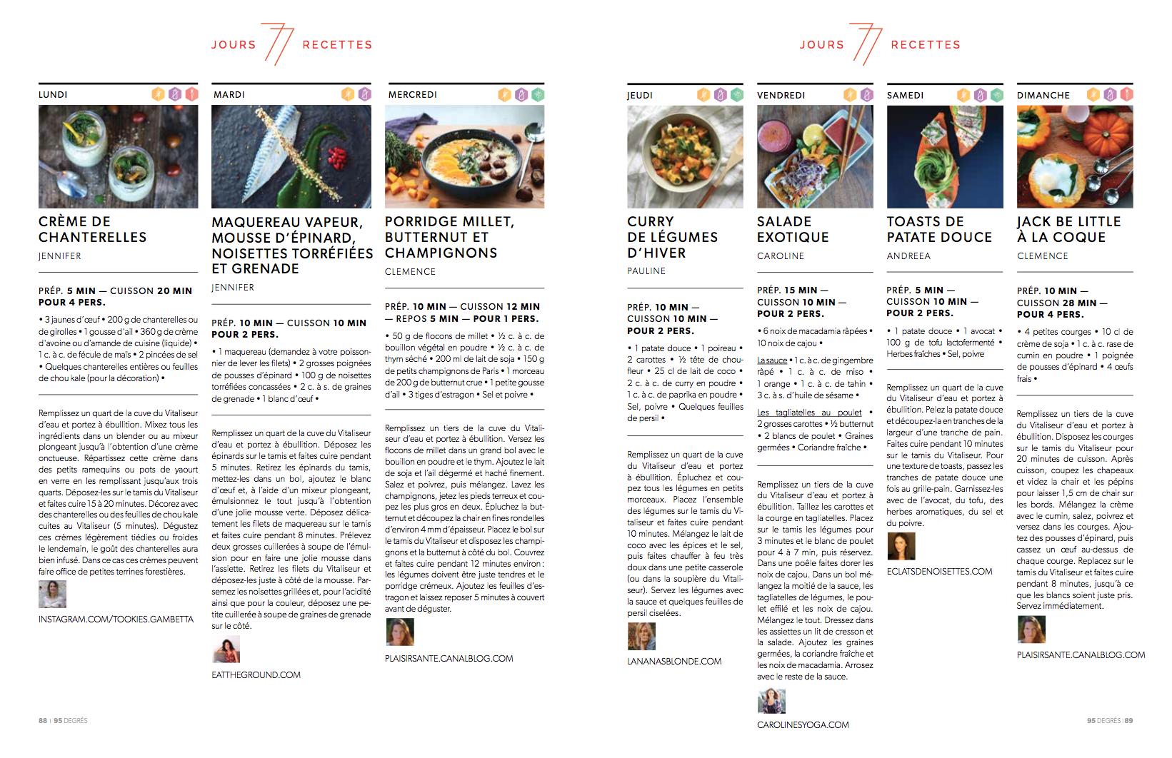 Magazine 95°, Décembre 2017 - 7 jours 7 recettes à la vapeur douce