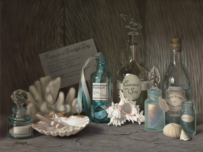 a painting of sea shells, antique blue glass bottles and coral