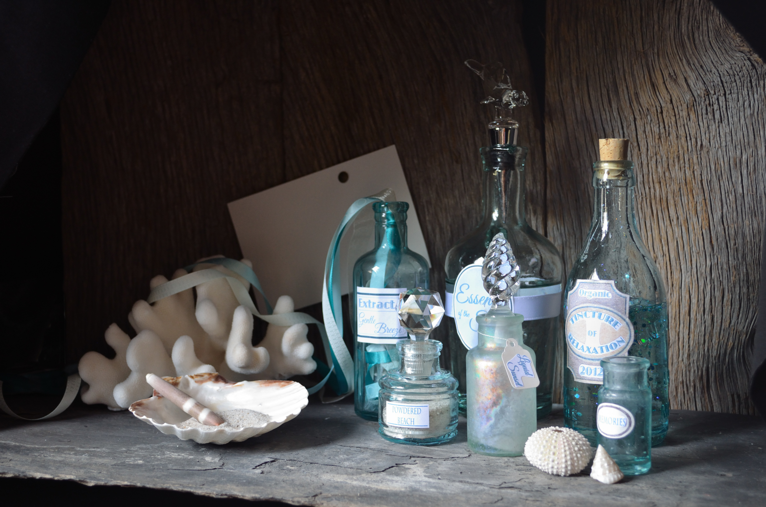 I felt that the story could be best told if I added labels to the bottles to imply their contents. I also changed the size of the recipe card as I felt it was too large for the composition. Although they were relevant to creating a recipe, visually I found the metal measuring spoons to be visually distracting and so I removed them and added coral.