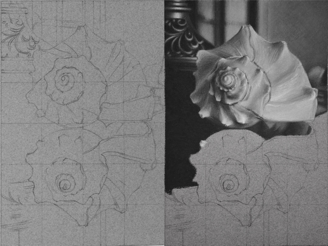Earlier Steps in the drawing; Left: The initial grid and line drawing. Right: Early into the process of the drawing where I have begun massing in the preliminary values.