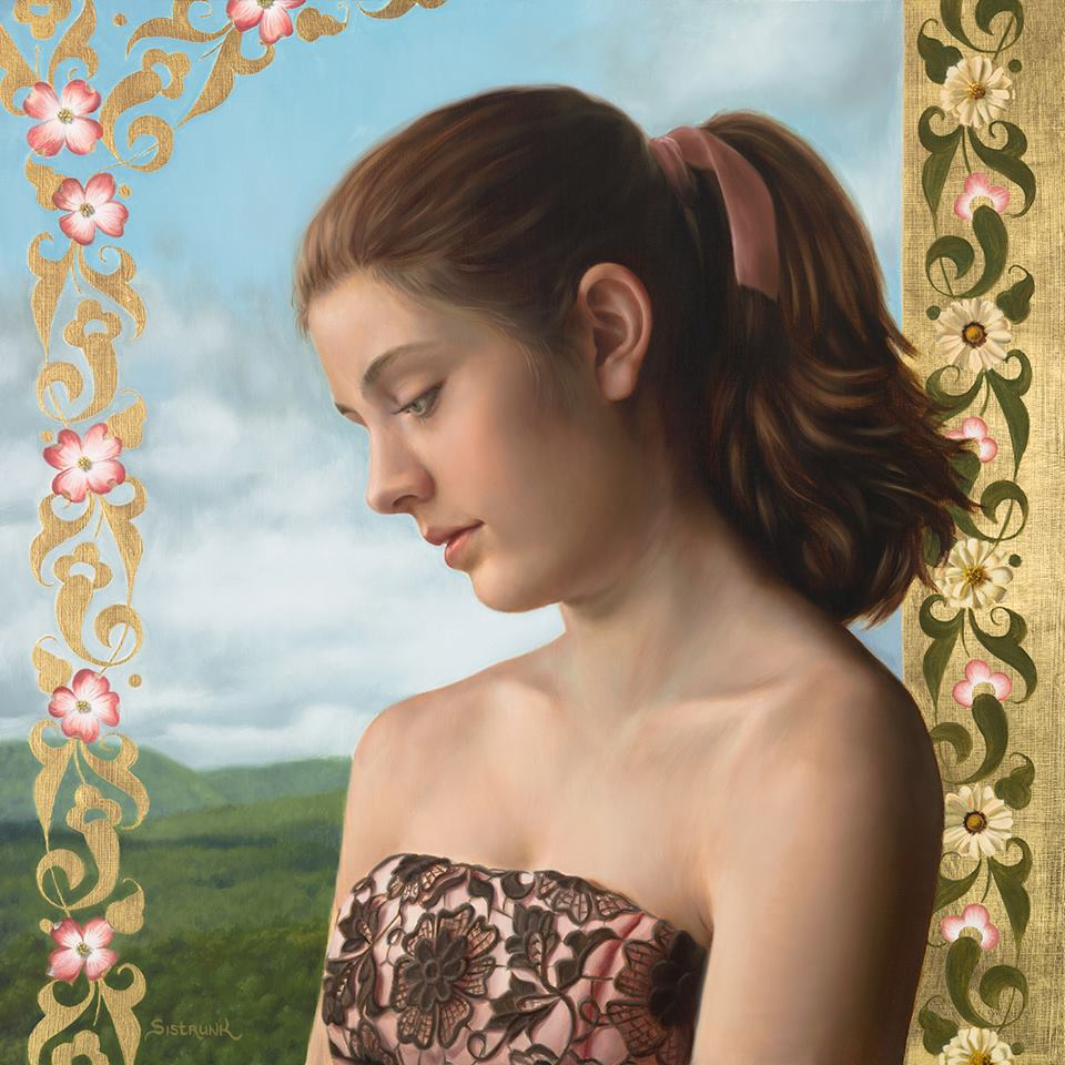 "Athena In Spring, Oil and 23.5K Gold leaf on Aluminum Panel 20""x20"""