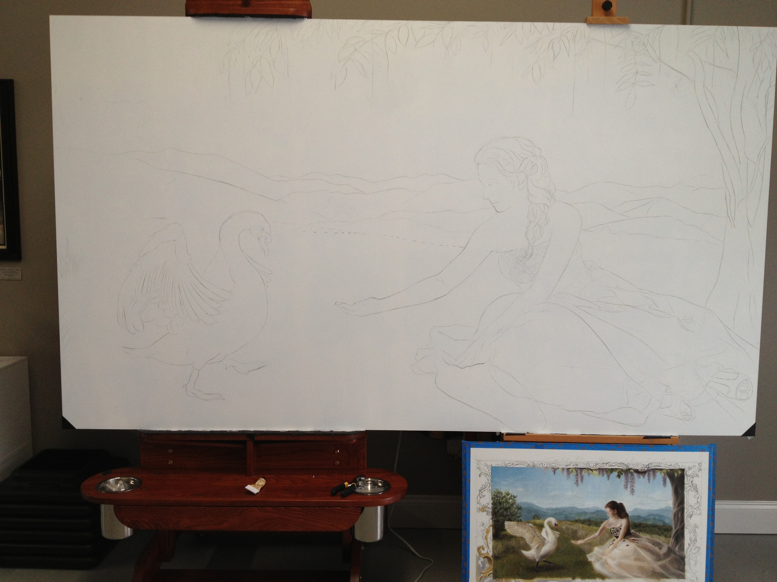 a large white panel with a charcoal drawing