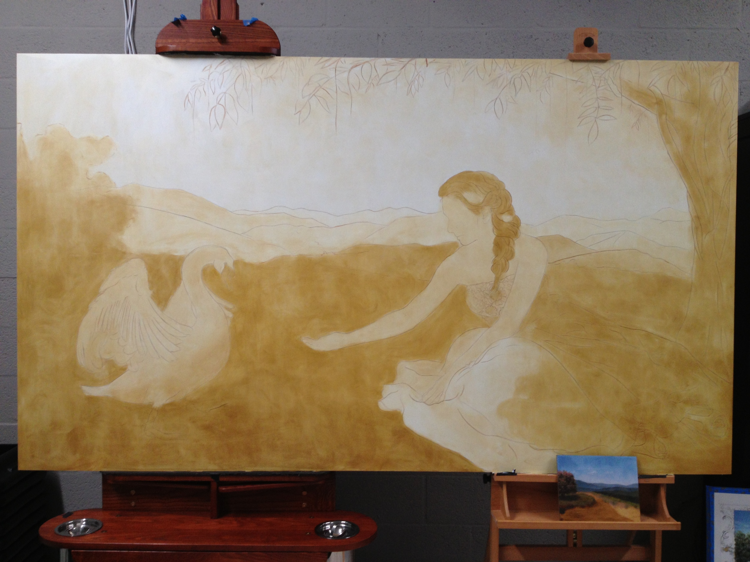 a cream colored underpainting