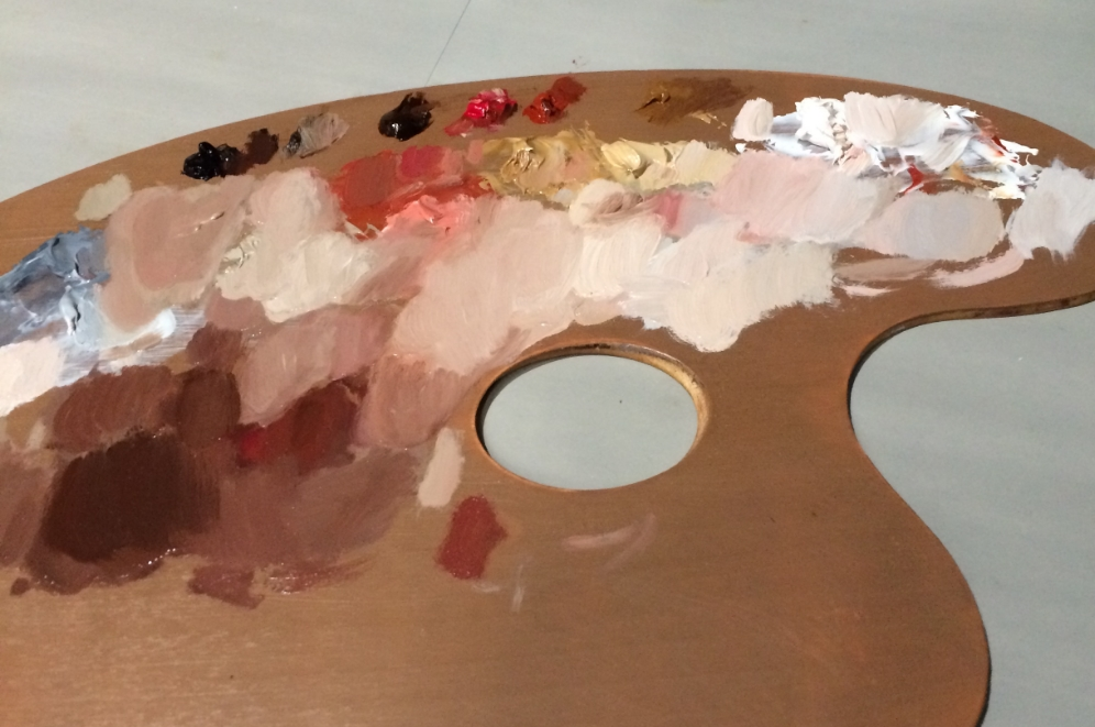 That same skin tone palette at the end of the painting session.