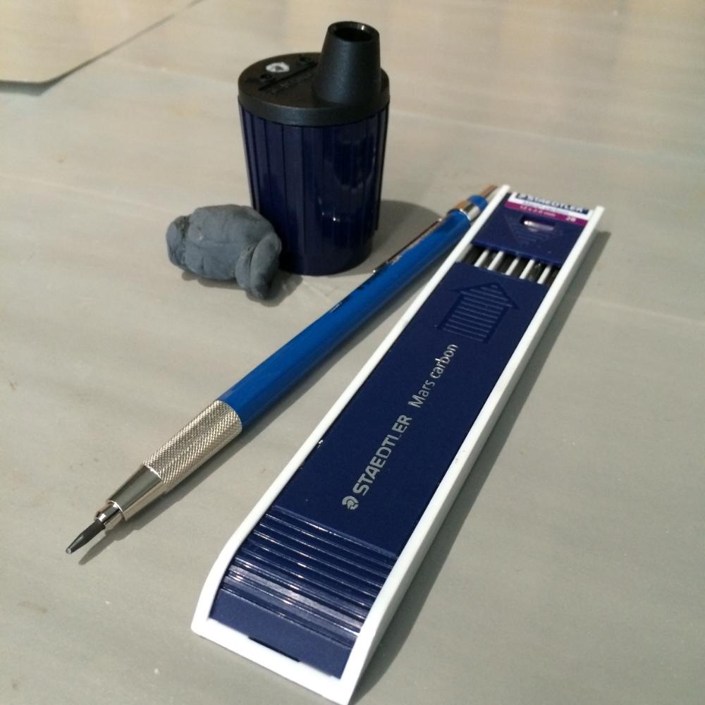 Staedtler Mars Technico Lead Holder (Blick), 2B refills, Staedtler Mars Lead Pointer and kneaded eraser