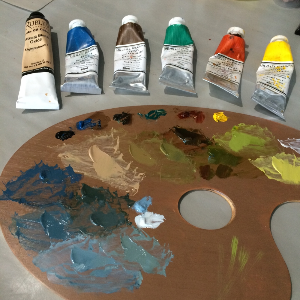 Above from Left to Right: Rublev Oxide Black, Michael Harding Cerulean Blue, Raw Umber, Viridian, Transparent Oxide Red, Cadmium Yellow (Medium) and Rublev Lead White #2 with Vasari Titanium White.