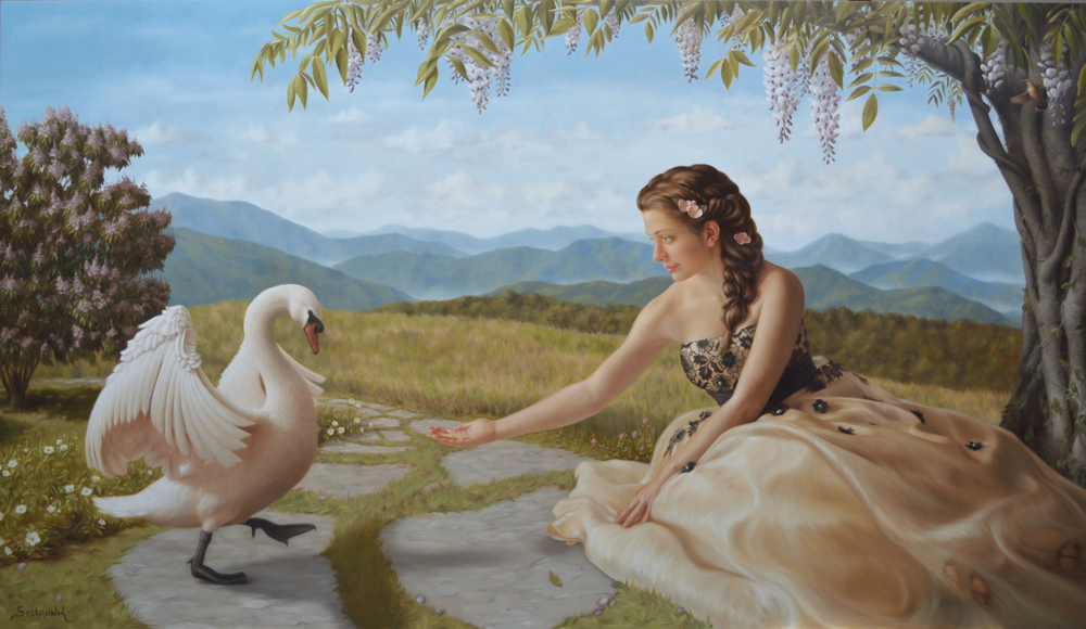 "Feeding Love 54""x90"" Oil on Aluminum Panel"