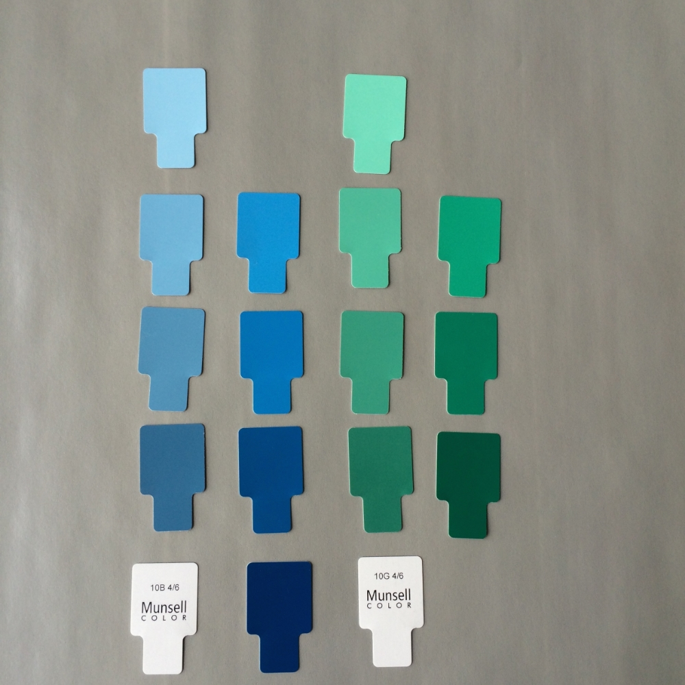 A dichromatic color scheme including 10 Blue and 10 Green at different values. Both the blue and the green are limited to a chroma of 6 and 10.