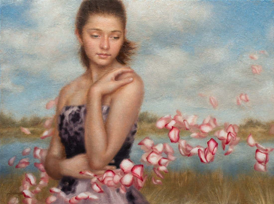 soft and dreamy figure painting with pink and white floating rose petals