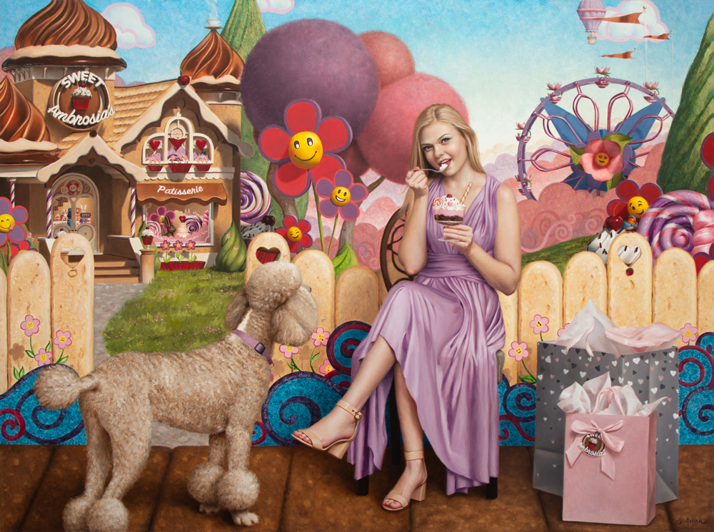 A woman eating a sundae with a poodle in a candy land scene.