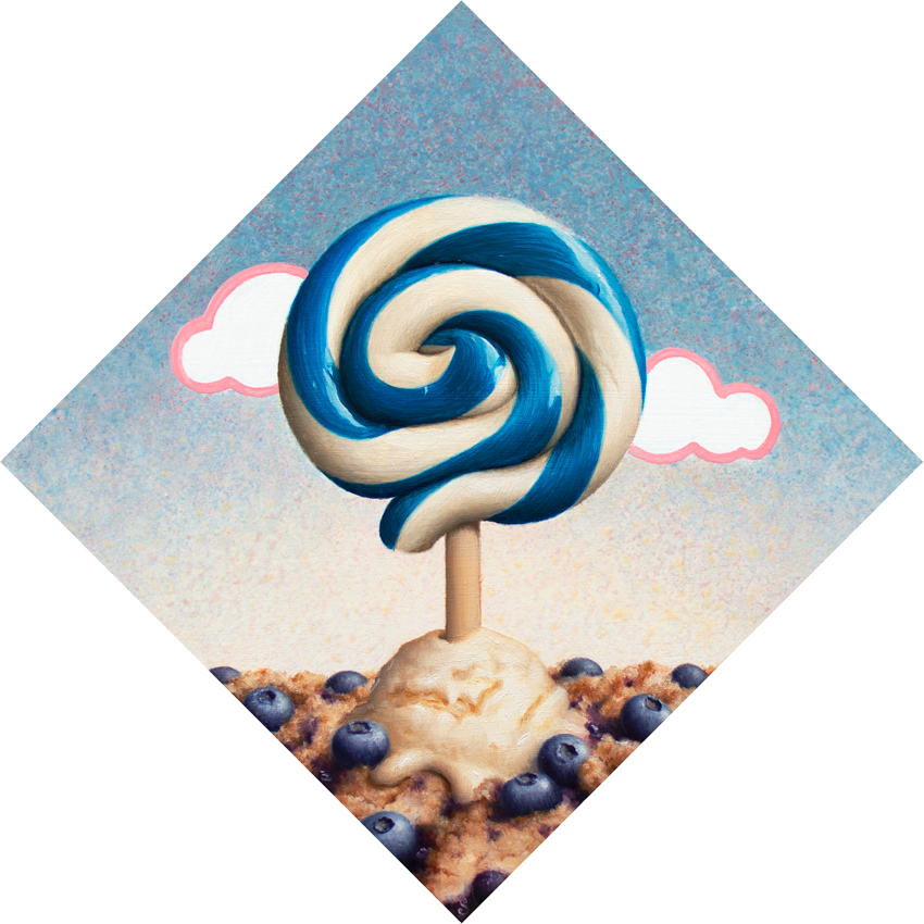A painting of a blue and white lollipop, blueberry cobbler and ice cream.