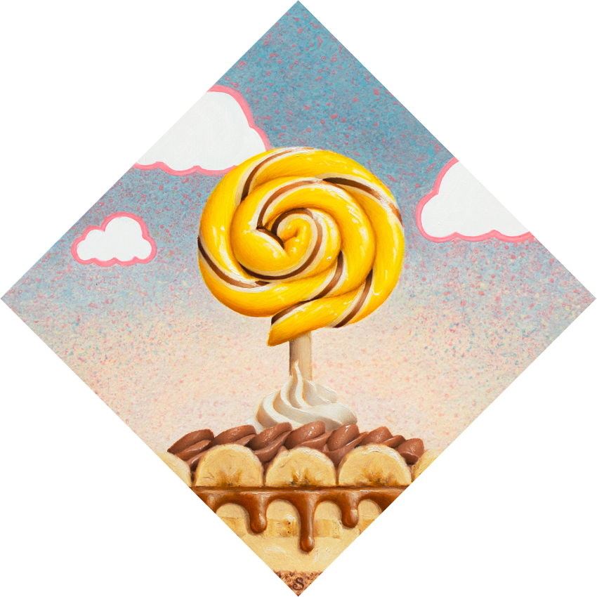 A painting of a yellow and white and brown lollipop over top of a banana cream pie.