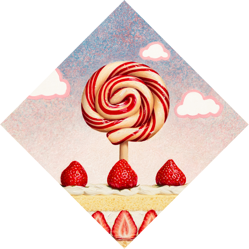 A painting of a red and white lollipop over top of a strawberry shortcake dessert.