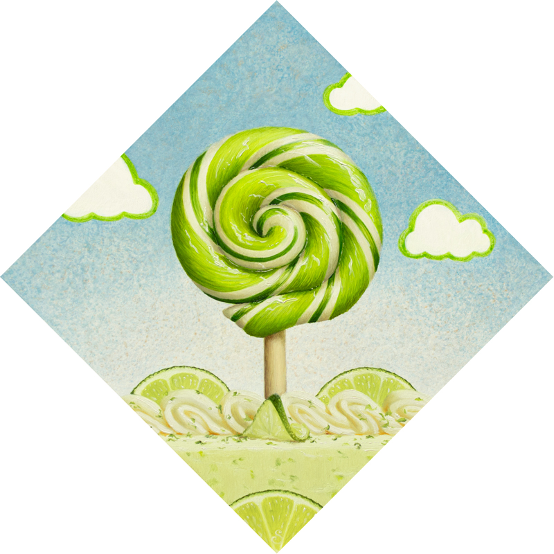 A painting of a green and white lollipop over top of a key lime pie.
