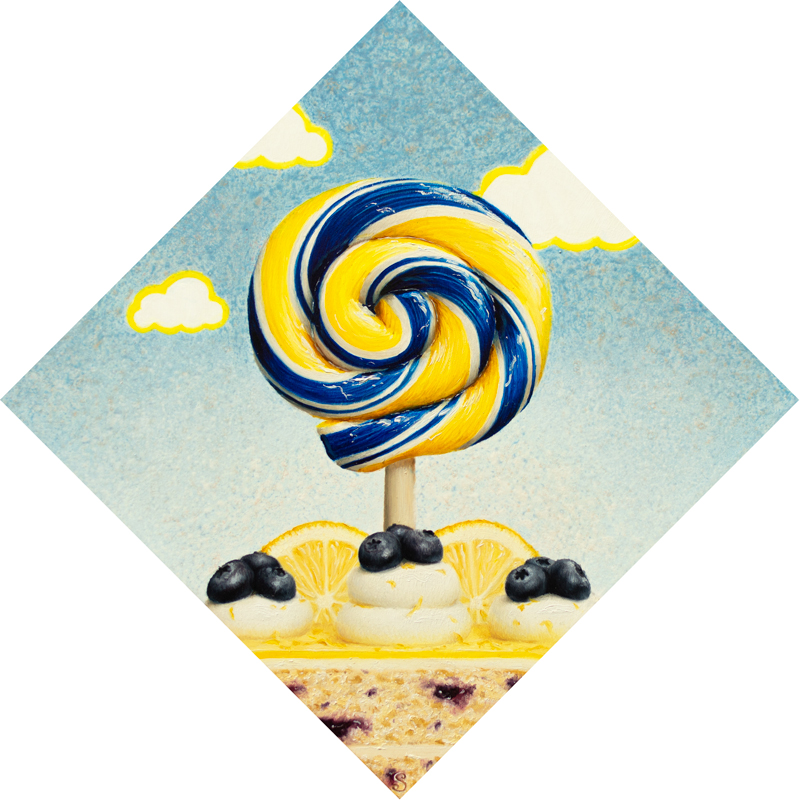 A painting of a blue and yellow lollipop over top of a blueberry lemon cake and lemon slices.