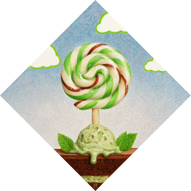 A painting of a green, brown and white lollipop over top of mint chocolate chip ice cream and cake.
