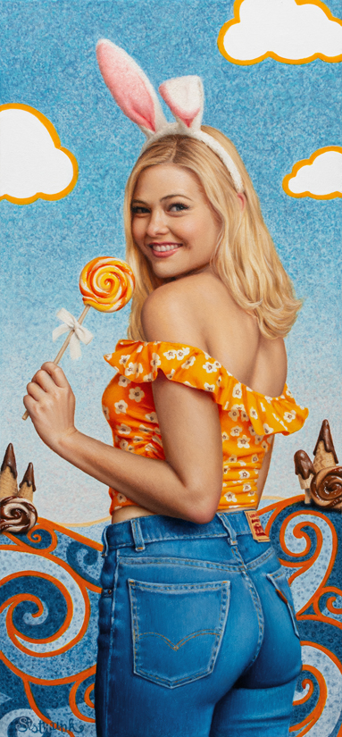 A painting of a blonde girl in bluejeans holding a lollipop.