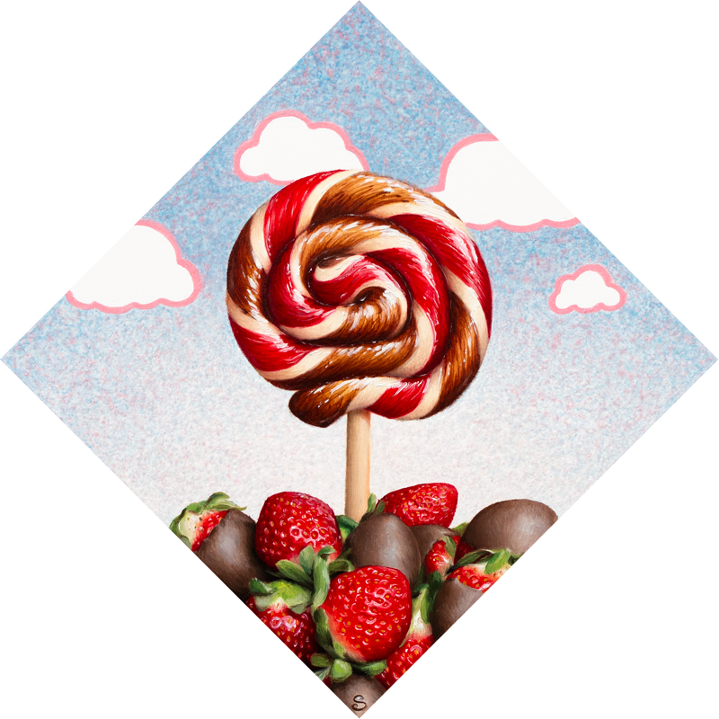 A painting of a red, chocolate and white lollipop over top of chocolate covered strawberries.