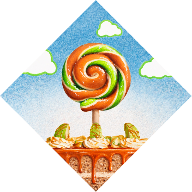 A painting of a green and brown lollipop over top of a caramel apple cake.