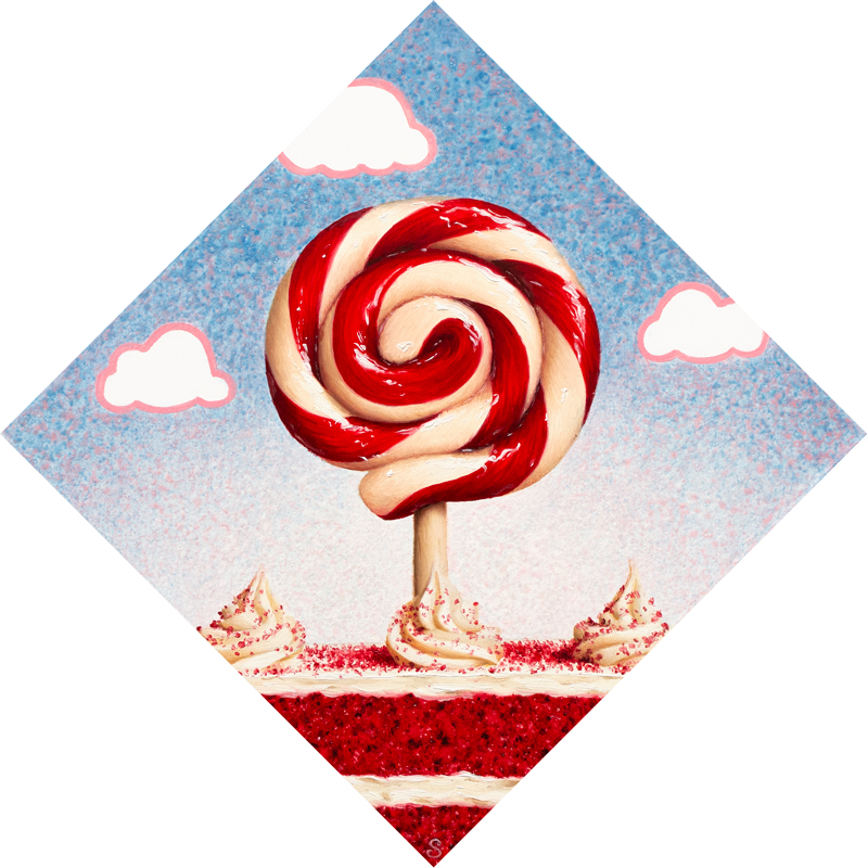 A painting of a red and white lollipop over top of a red velvet cake.