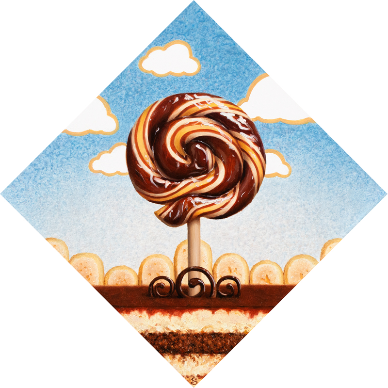 A painting of a brown and cream lollipop over top of tiramisu.