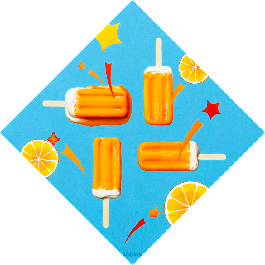 A painting of four creamsicles, oranges and stars on a blue background.