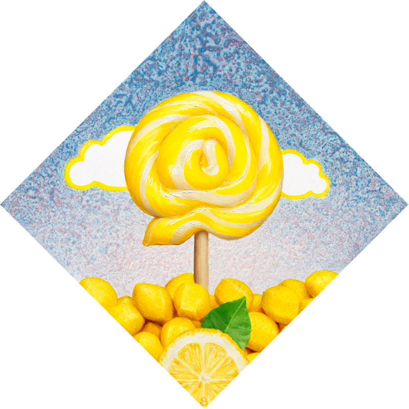 A painting of a yellow and white lollipop over top of a slice of lemon meringue pie.
