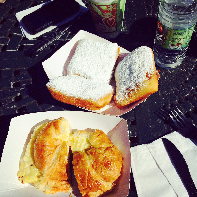 Beignets and a breakfast sandwich!