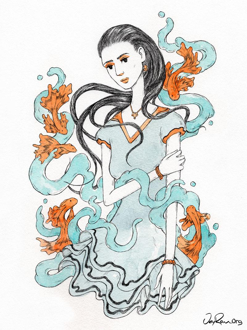Ballpoint pen + Watercolor art by JeyRam #Drawing #Art #Illustration #JeyRam