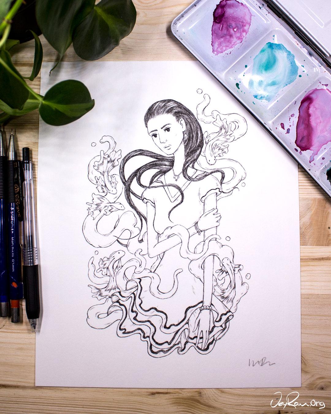 Copy of Ballpoint pen + Watercolor art by JeyRam #Drawing #Art #Illustration #JeyRam