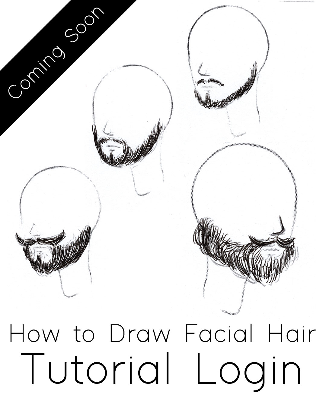 How to Draw  Facial Hair Tutorial, Step by Step Process for drawing beards & mustaches from imagination #tutorial #drawing #faces