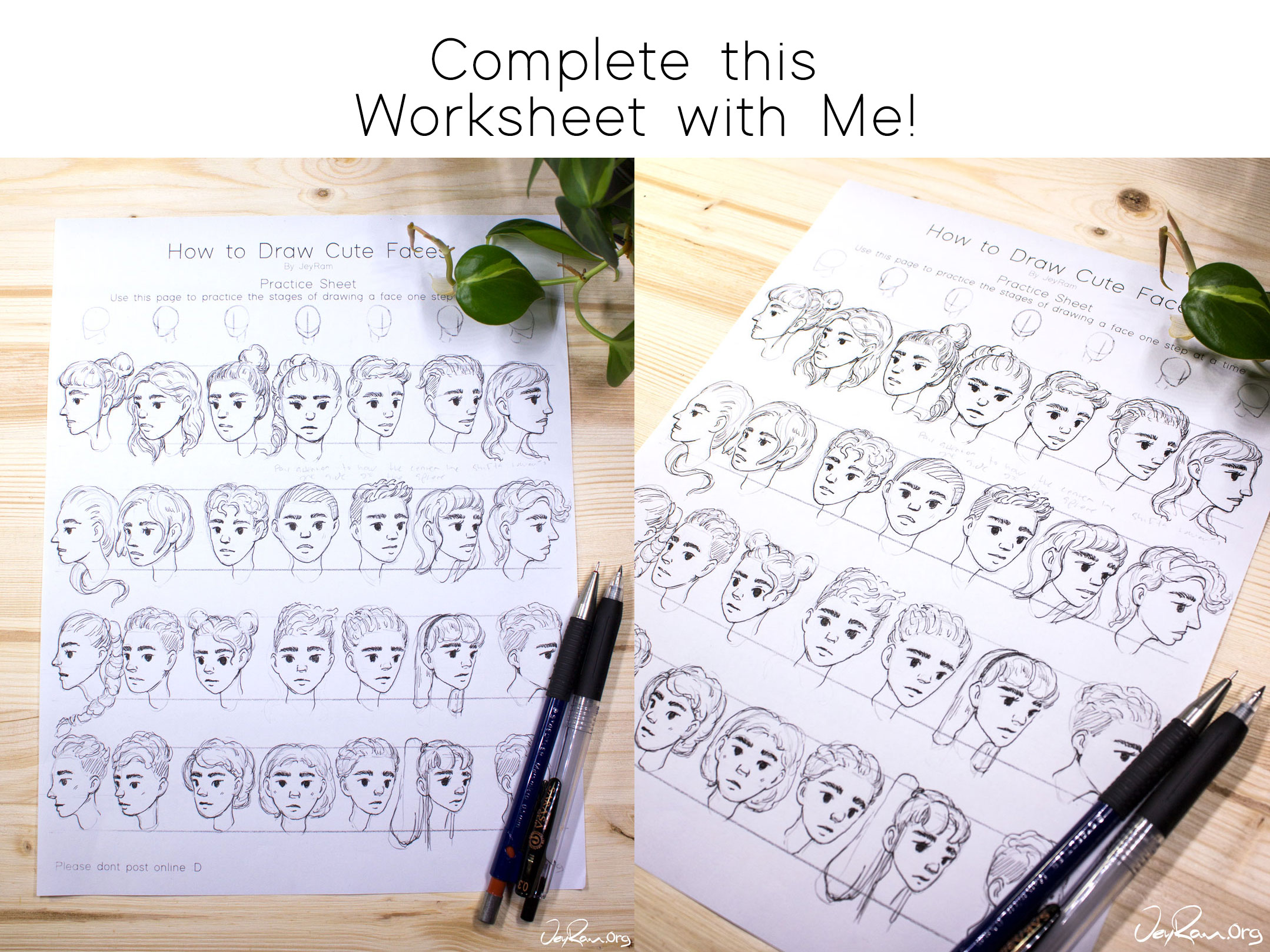 Learn how to draw cute faces with this simple step by step video tutorial that includes worksheets! This approach is perfect for beginners