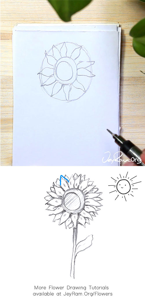 How to Draw a Sunflower Step by Step by JeyRam #Sunflower #Sunflowers #flower #drawing #tutorial