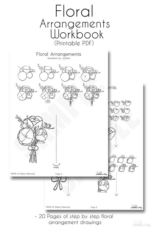 How to Draw Flowers Printable PDF Workbook Technique #drawing #tutorial #flowers