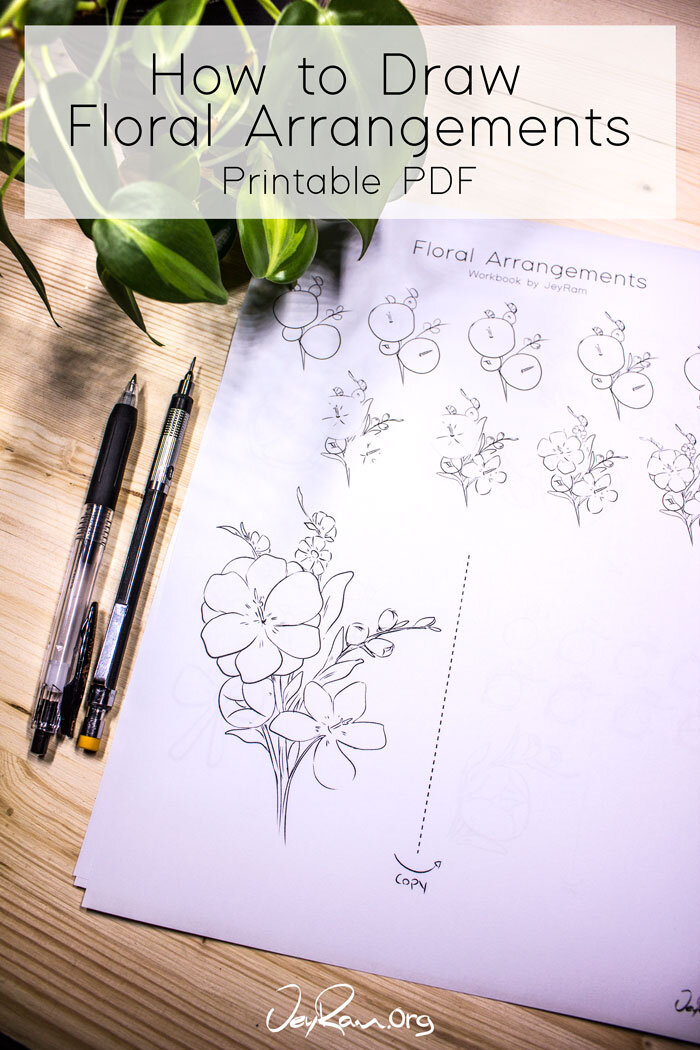 Learn how to draw flowers with this PDF Printable workbook! Simple step by step tutorial #flower #drawing #tutorial