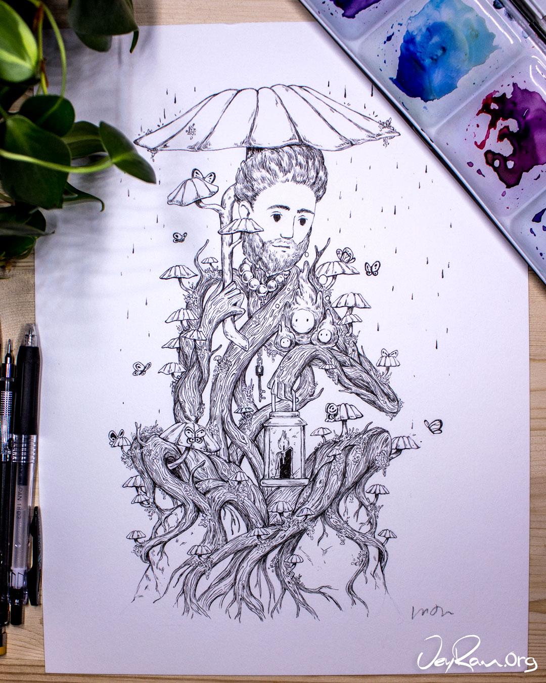 Marasmius Haematocephalu Mushroom Wizard - Ballpoint Pen Ink Art by JeyRam. #inktober #inkart #originalart #inktober2019 #mushroom #fungi