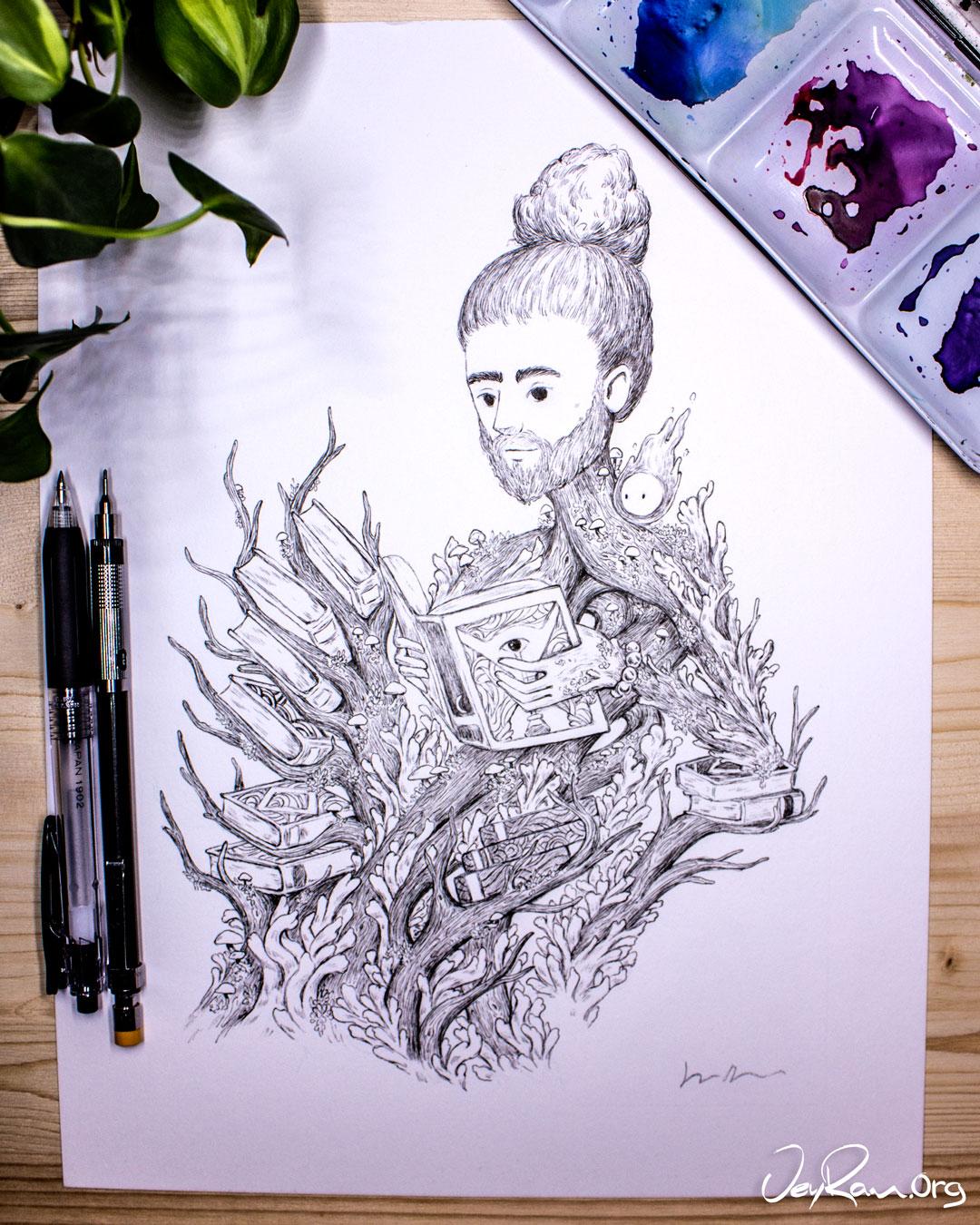 Clavulina Cinerea Wizard - Ballpoint Pen Ink Art by JeyRam. #inktober #inkart #originalart #inktober2019 #mushroom #fungi