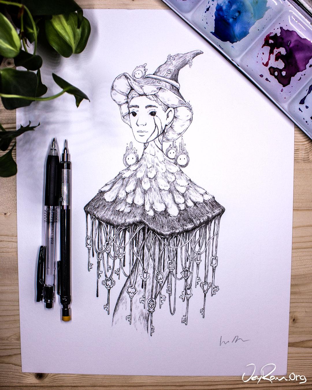 Coprinus Comatus  Wizard - Ballpoint Pen Ink Art by JeyRam. #inktober #inkart #originalart #inktober2019 #mushroom #fungi