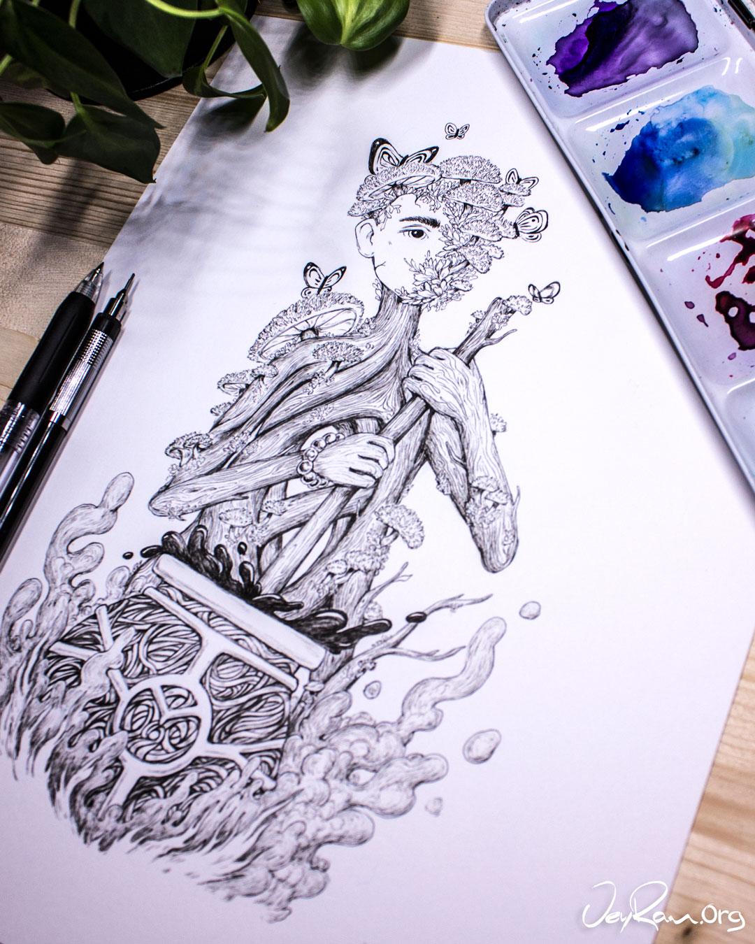 Cyptotrama Asprata  Wizard - Ballpoint Pen Ink Art by JeyRam. #inktober #inkart #originalart #inktober2019 #mushroom #fungi