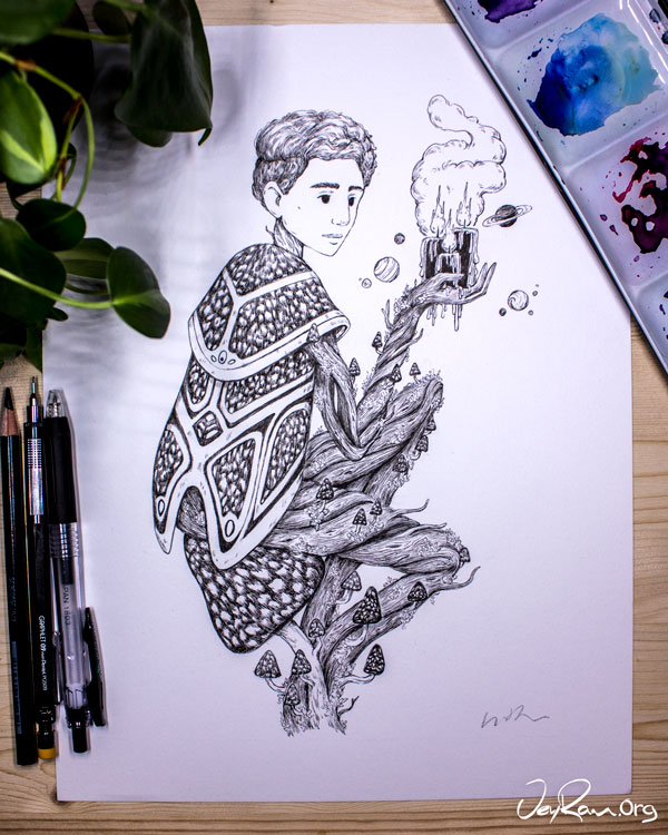 Coprinus Picaceus Wizard - Ink Drawing by JeyRam