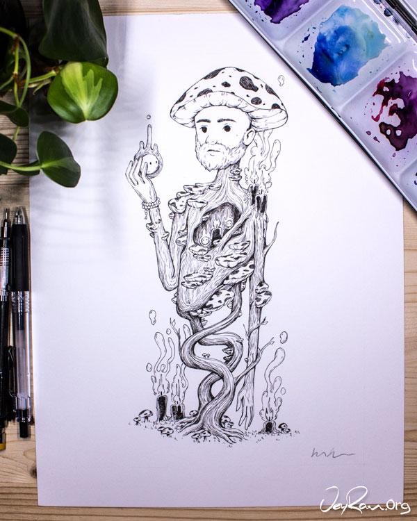 Amanita Muscaria Wizard - Ink Drawing by JeyRam