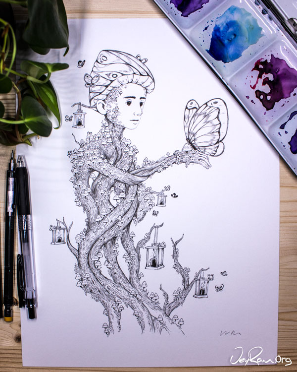 Coprinellus Disseminatus Wizard - Ink Drawing by JeyRam