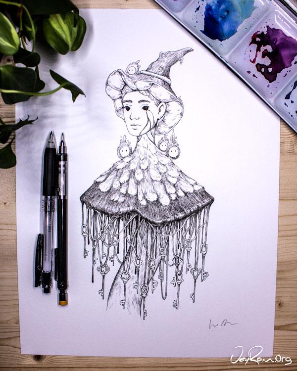 Coprinus Comatus  Wizard - Ink Drawing by JeyRam