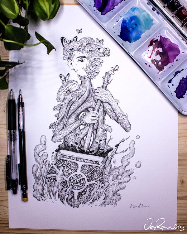Cyptotrama Asprata  Wizard - Ink Drawing by JeyRam