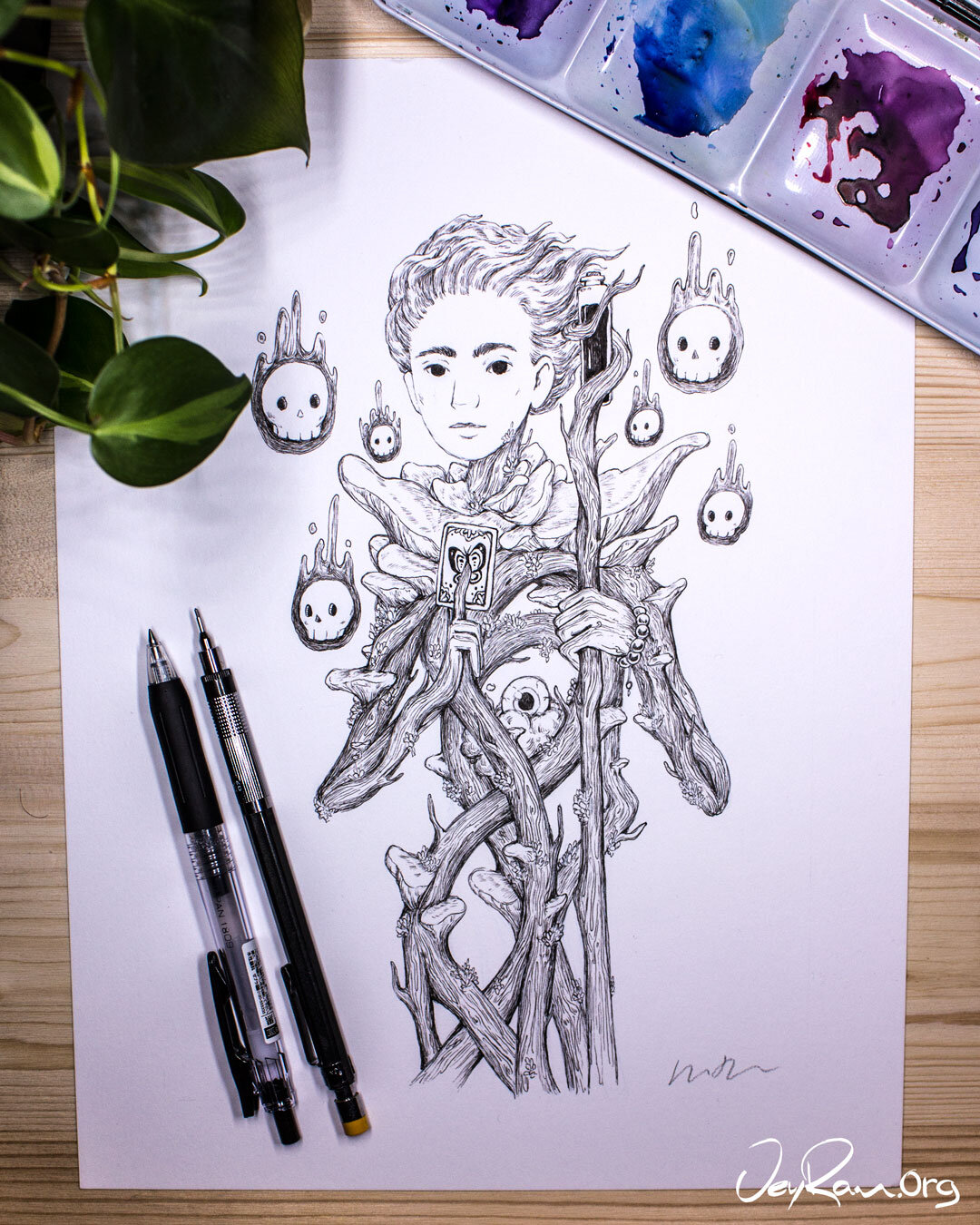 Omphalotus Nidiformis Wizard Ink Drawing :  Ballpoint Pen Art by JeyRam. I'm an artist from Toronto that specializes in simple and elegant ink drawing! #inktober #inkart #originalart #inktober2019