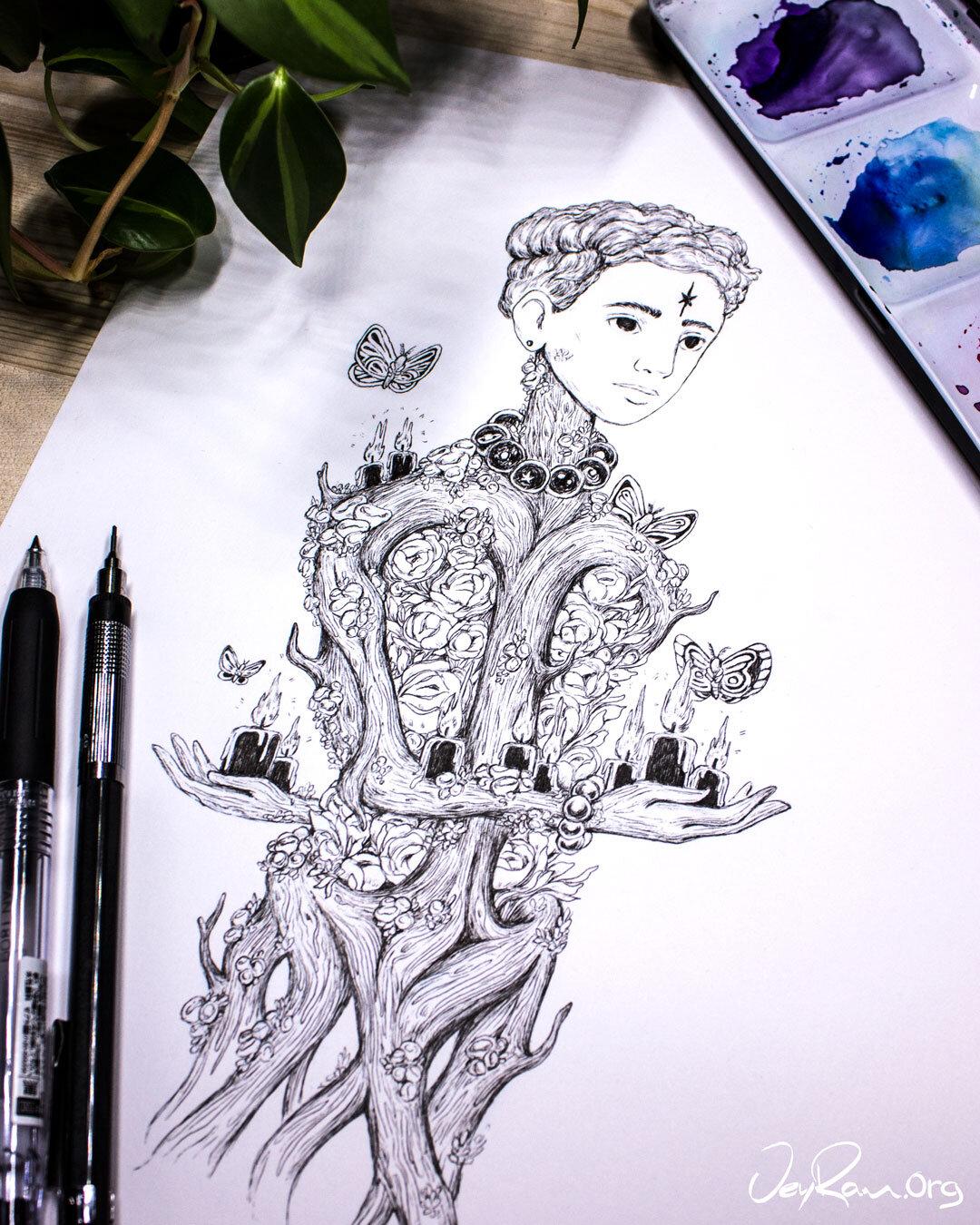 Aleuria Aurantia Wizard Ink Drawing :  Ballpoint Pen Art by JeyRam. I'm an artist from Toronto that specializes in simple and elegant ink drawing! #inktober #inkart #originalart #inktober2019